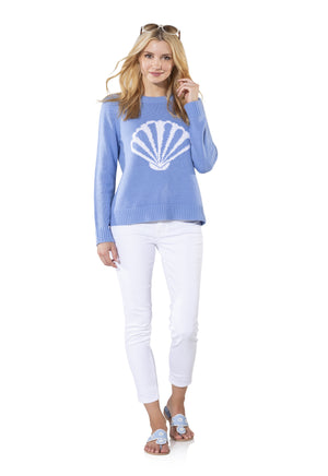 Long Sleeve Intarsia Shell Sweater