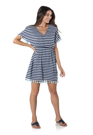 Short Sleeve Crinkle Cotton Tassel Dress