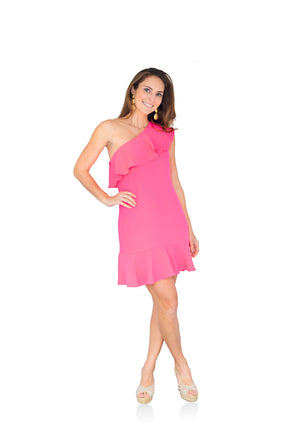 One Shoulder Dress Hibiscus