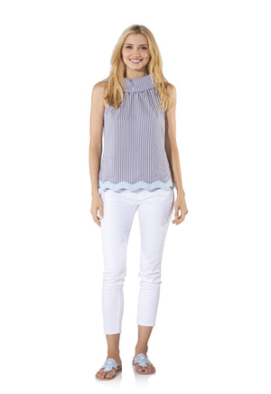 Stripe Shirting Cowl Neck Top with Ric Rac