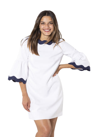 Bell Sleeve Dress White