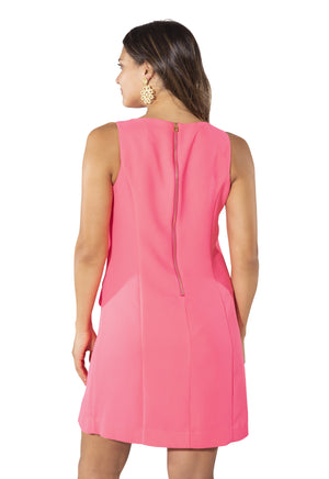 Poly Crepe Sleeveless Shift with Pockets Hibiscus
