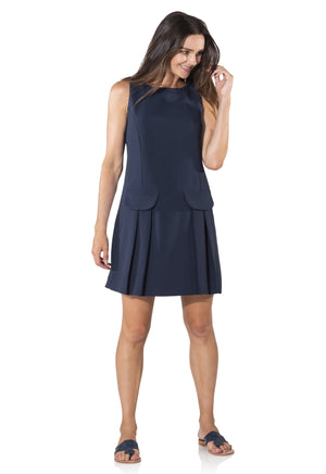 Poly Crepe Sleeveless Shift with Pockets