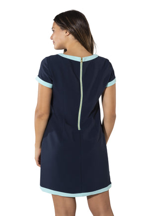 Poly Crepe Short Sleeve Shift Dress Navy