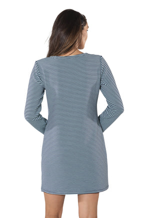 Textured Stripe Knit Long Sleeve Dress