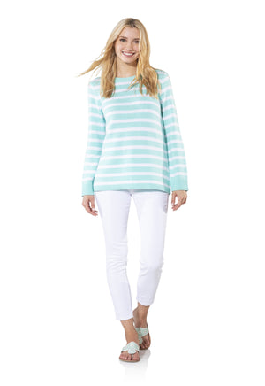 Long Sleeve Stripe Sweater Aruba/White