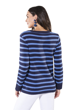 Long Sleeve Stripe Sweater Navy/Hydrangea
