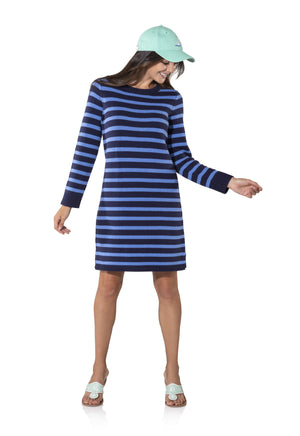 Long Sleeve Striped Sweater Dress Navy/Hydrangea