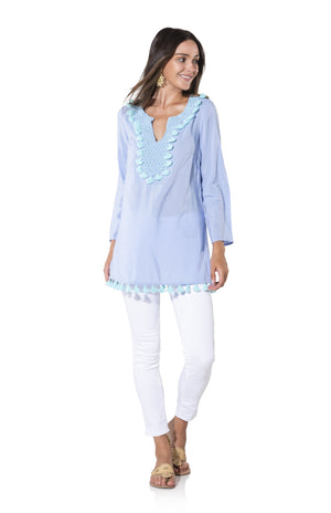Cotton Shirting Long Sleeve Tassel Top Periwinkle