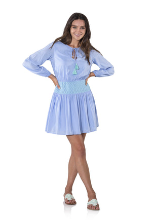 Cotton Shirting Smocked Long Sleeve Dress Periwinkle