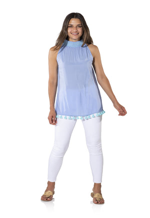 Cotton Shirting Smocked Halter Top Periwinkle