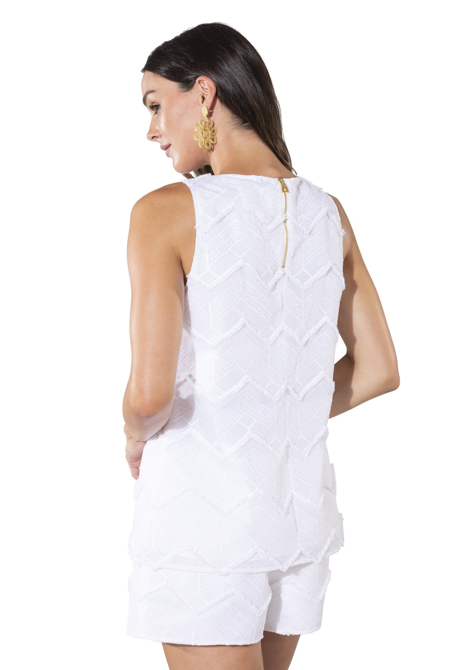 Embroidered Fringe Sleeveless Top