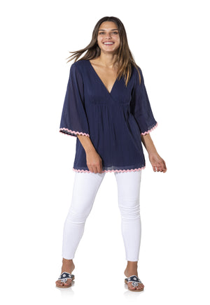 Crinkle Cotton Shirred Tunic Top