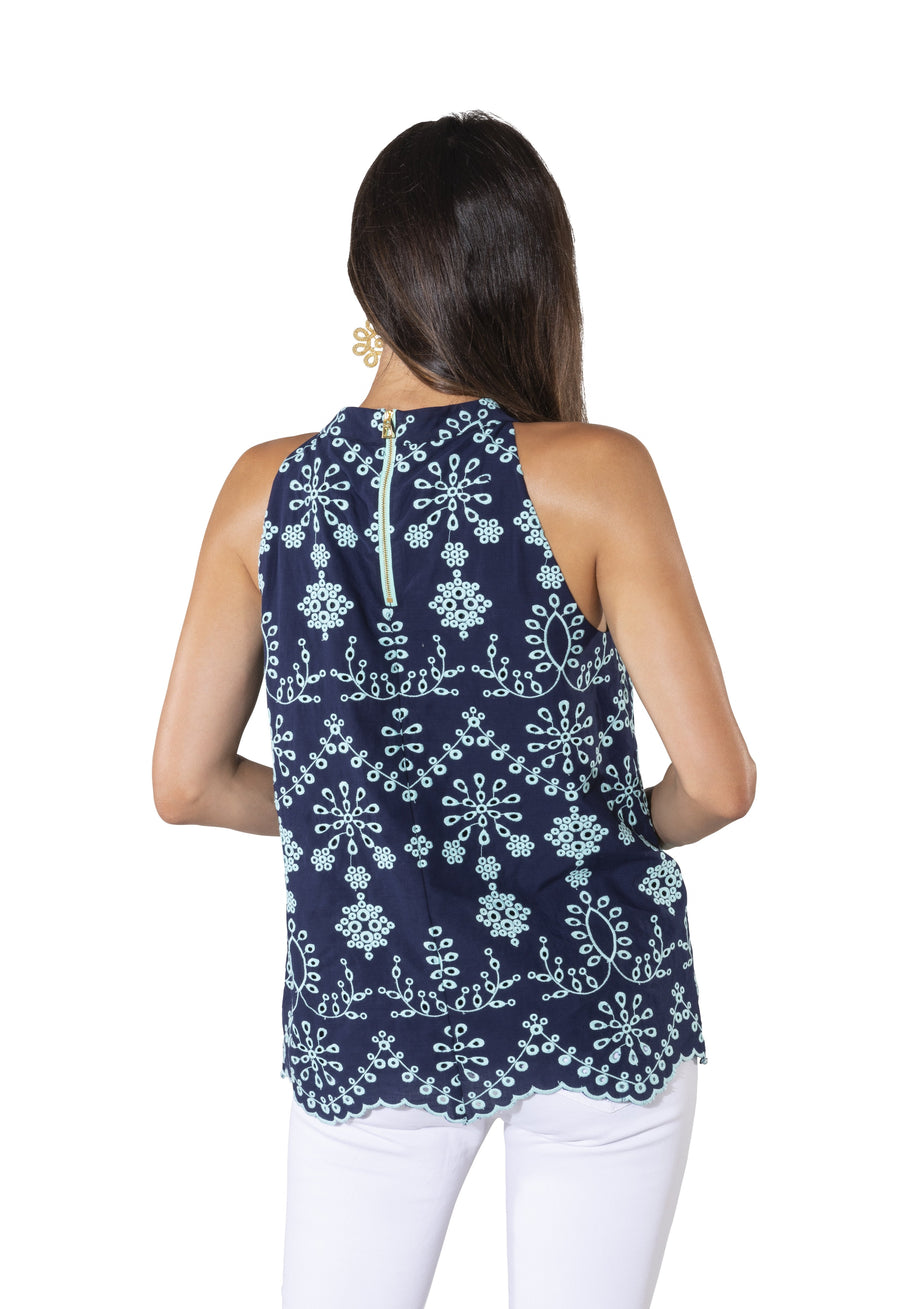 Embroidered Cotton Sleeveless Halter Top