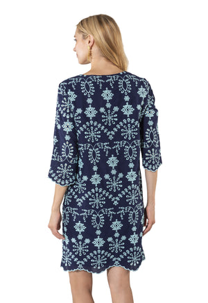Embroidered Cotton Long Sleeve Dress