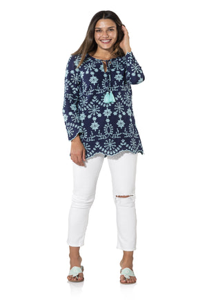 Embroidered Cotton Long Sleeve Tassel Top