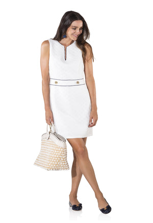 Textured Tweed Sleeveless Shift Dress