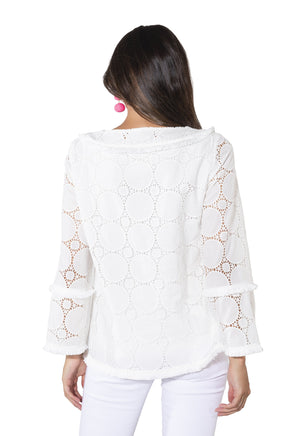 Long Sleeve Eyelet Tunic Top