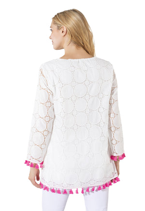 Long Sleeve Eyelet Tassel Top