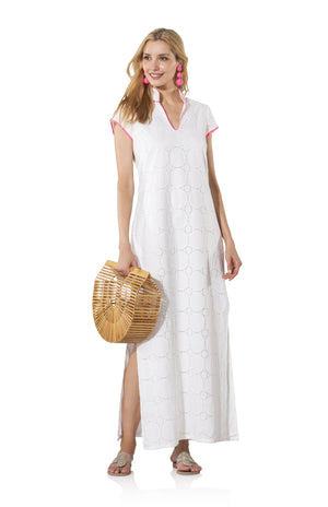 Eyelet Short Sleeve Maxi Dress