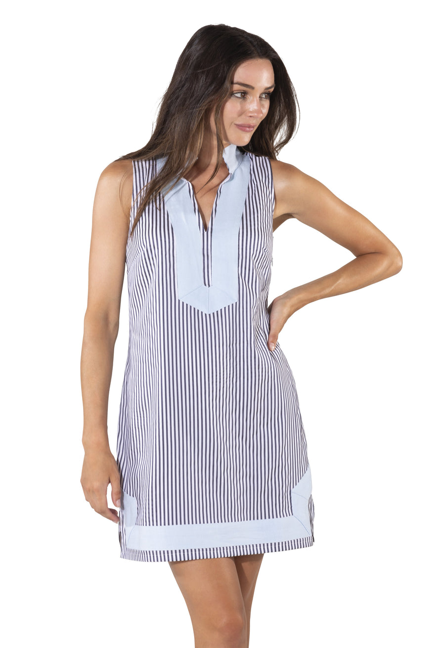 Stripe Shirting Sleeveless Classic Tunic