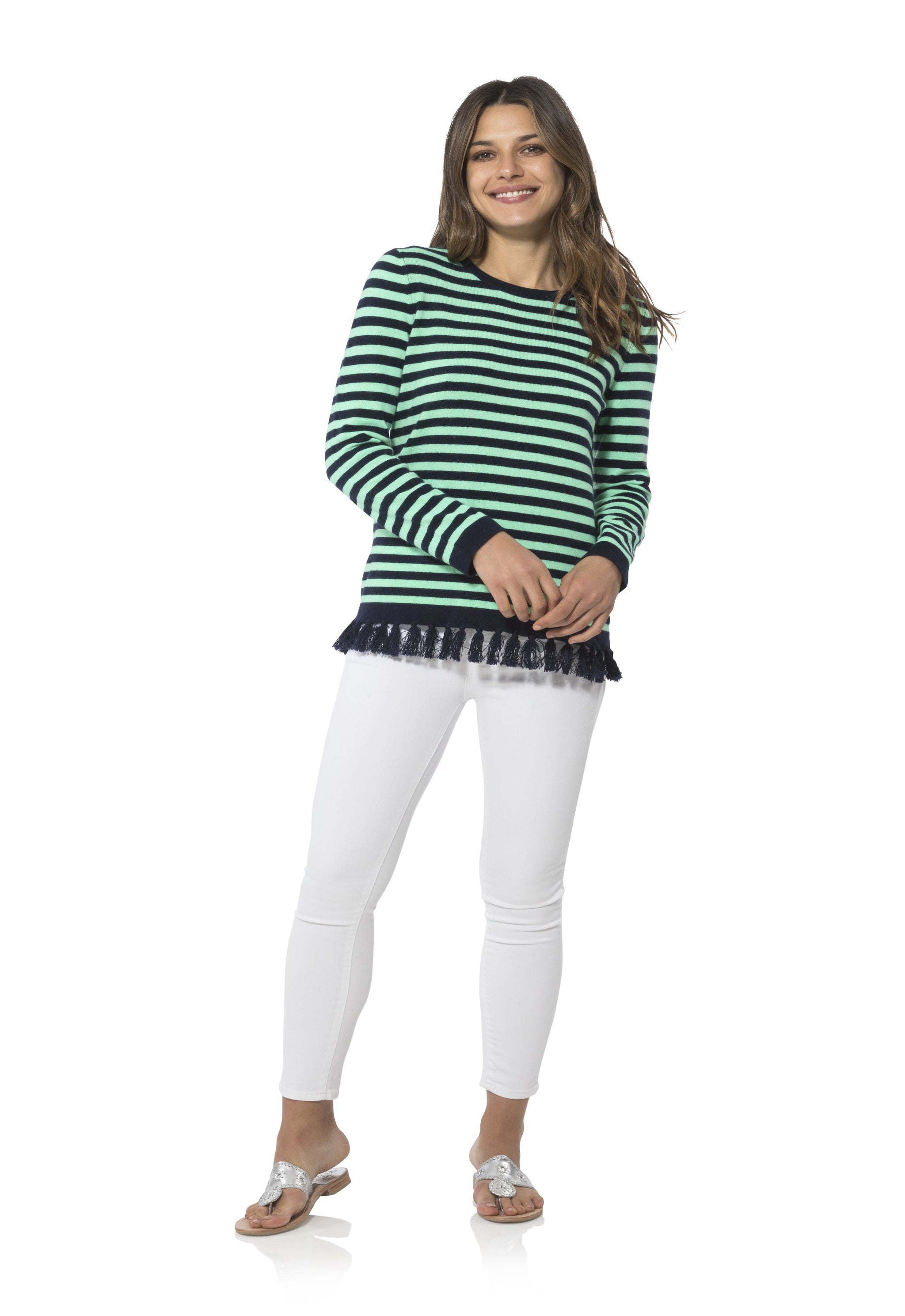 14c7018632 Cashmere Long Sleeve Tassel Sweater - Sail to Sable