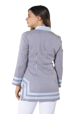 Stripe Shirting Long Sleeve Classic Top