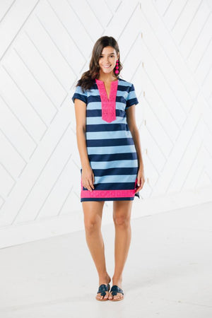 Striped Short Sleeve Tunic Dress with Pink Lace Trim