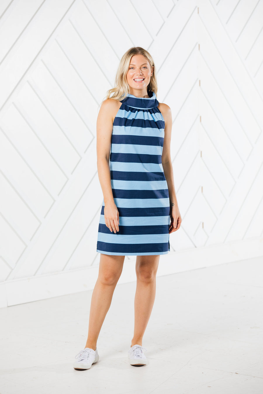 Stripe Cowl Neck Dress