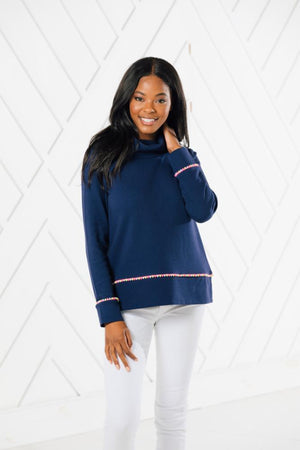 Cowl Neck Pullover with Pom Poms