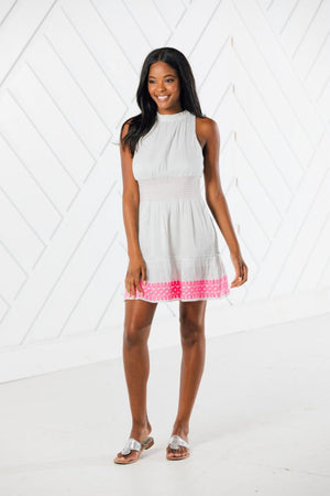 Pink Embroidered Ruffle Neck Sleeveless Dress