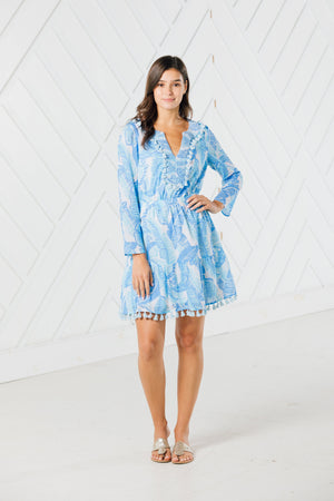 Blue Palm Print Long Sleeve Tassel Dress