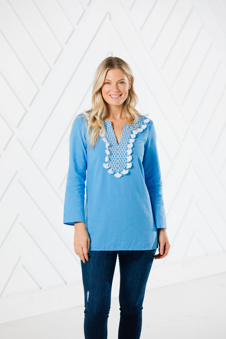 Tassel Tunic Top with Embroidered Trim (two colors)