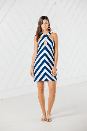 Striped Cross Front Tank Dress
