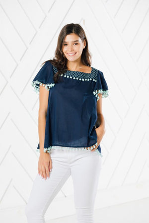 Short Sleeve Pom Pom Top
