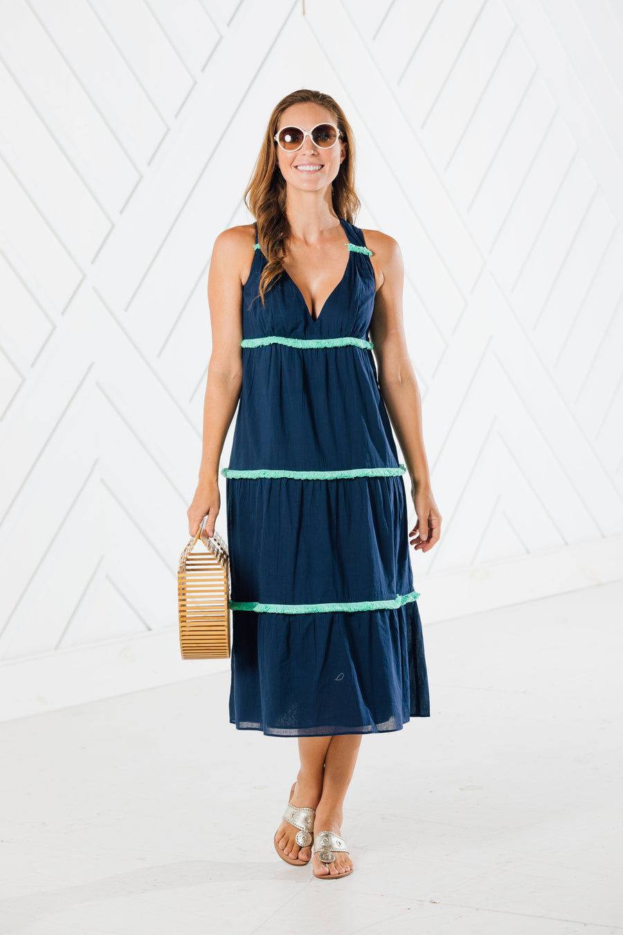 Tiered Midi Dress with Fringe Trim