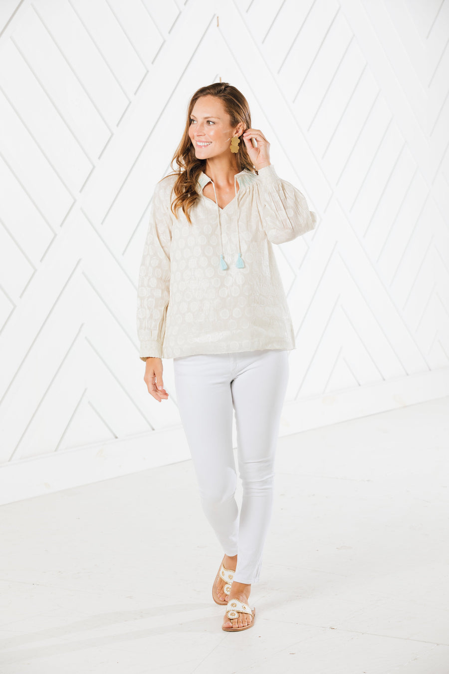 Shimmer & Shine Smoked Neck Tassel Top