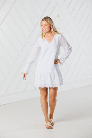 Embroidered Long Sleeve Dress with Flutter Hem