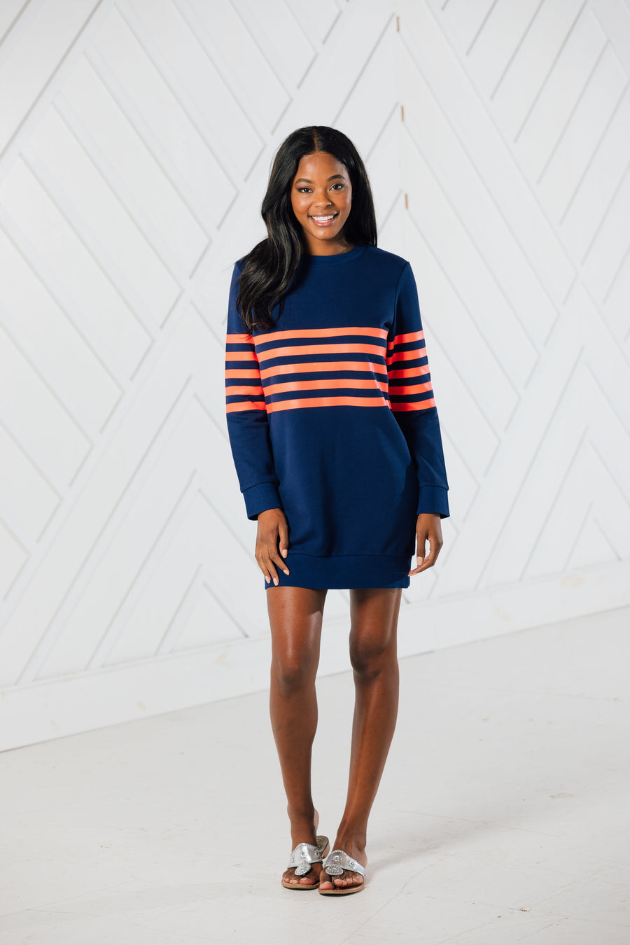 Orange Stripe Sweatshirt Dress