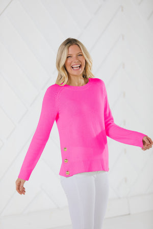 Hot Pink Button Front Sweater