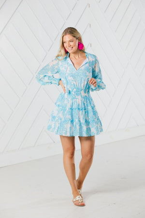 Blue Toile Print Long Sleeve Tiered Dress