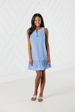 Blue Gingham Sleeveless Ruffle Hem Dress