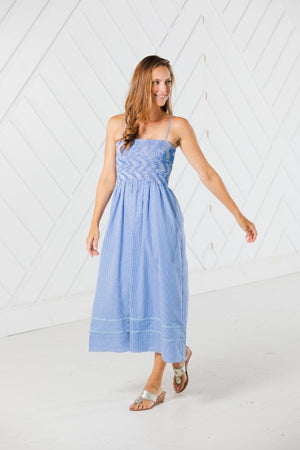 Blue Gingham Spaghetti Strap Midi Dress