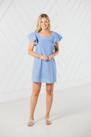 Blue Gingham Flutter Sleeve Dress