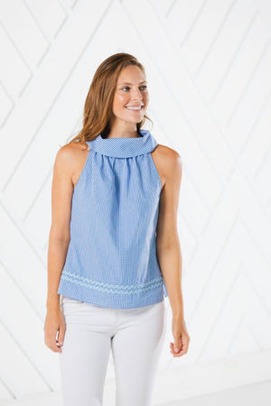 Blue Gingham Cowl Neck Top