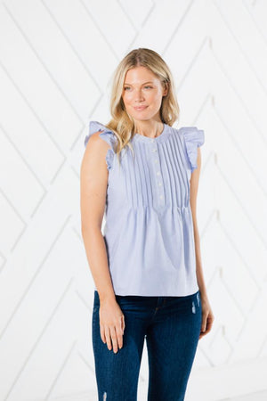 Button Front Flutter Sleeve Top