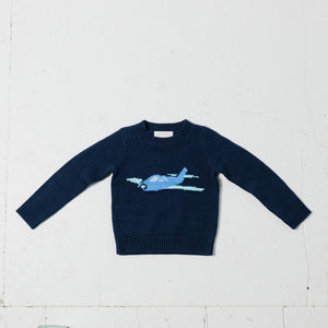 Kids Airplane Intarsia Sweater