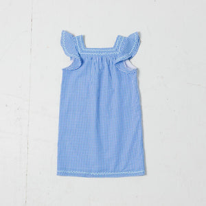 Kids Gingham Flutter Sleeve Dress