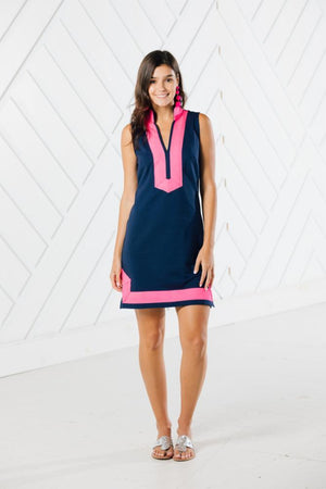 Sleeveless Classic Tunic with Contrast Trim (two colors)