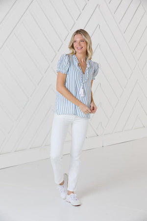 Short Sleeve Top with Tassels